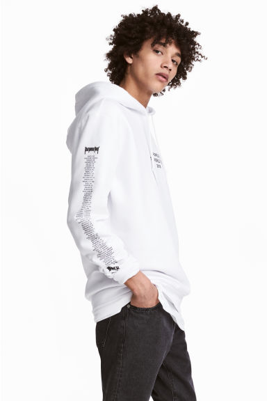 Printed hooded top - White/Justin Bieber - Men | H&M GB 1