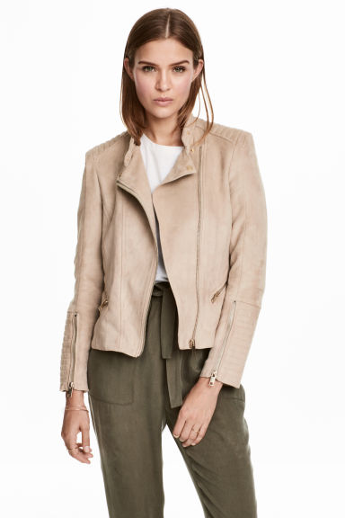 Biker jacket - Light beige - Ladies | H&M 1
