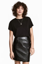 Top with cap sleeves - Black - Ladies | H&M 1