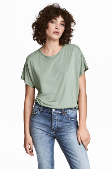 蓋袖上衣 - Dusky green - Ladies | H&M 1