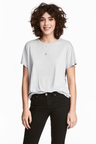 Top with cap sleeves - Light grey - Ladies | H&M 1