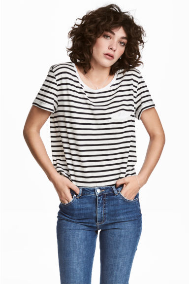 Striped jersey top - White/Black - Ladies | H&M
