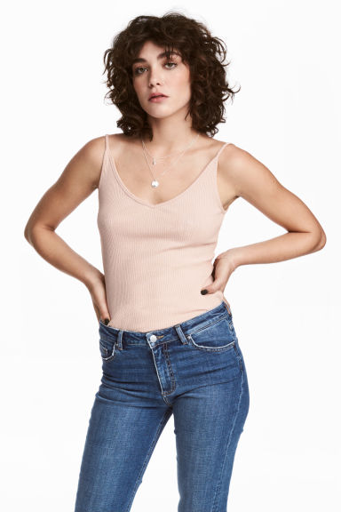 Ribbed strappy top - Powder pink - Ladies | H&M 1