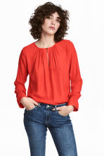 Long-sleeved blouse - Red - Ladies | H&M 1