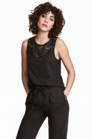 Sleeveless top with lace - Black - Ladies | H&M GB