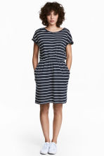 Short-sleeved jersey dress - Dark blue/Striped - Ladies | H&M CA 1