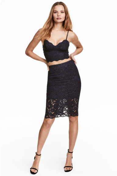 Lace pencil skirt - Dark blue -  | H&M CN 1