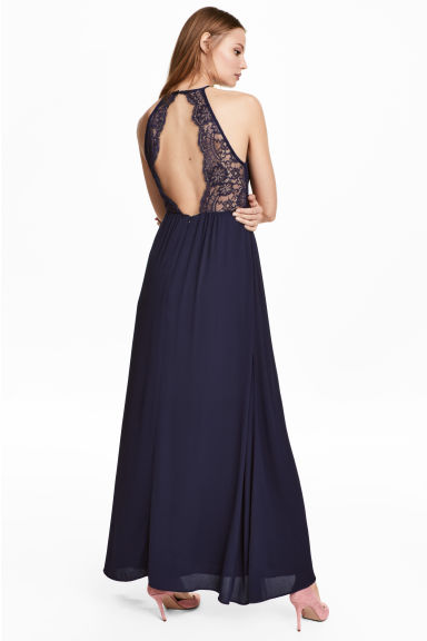 Maxi dress with lace details - Dark blue - Ladies | H&M CN 1