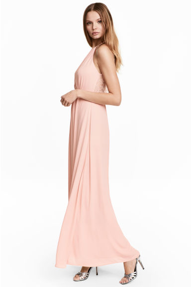 Maxi dress with lace details - Powder pink - Ladies | H&M CN 1