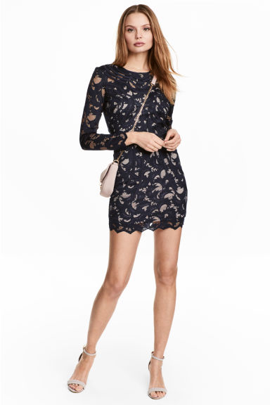 Short lace dress - Dark blue - Ladies | H&M CN
