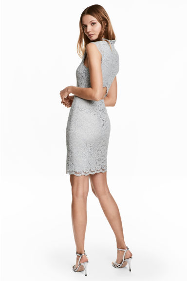 Lace dress with cap sleeves - Light grey -  | H&M CN