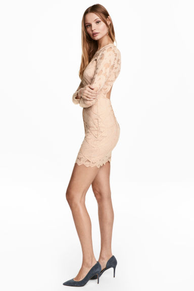 Short lace dress - Light beige - Ladies | H&M 1