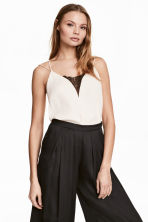 Strappy top with lace - Natural white -  | H&M CN 1