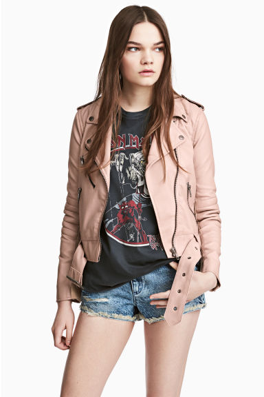 Biker jacket - Powder beige - Ladies | H&M CN 1