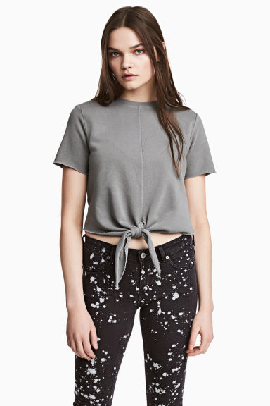 Short-sleeved sweatshirt - Grey - Ladies | H&M CN 1