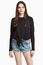Tie-front sweatshirt - Black - Ladies | H&M 1