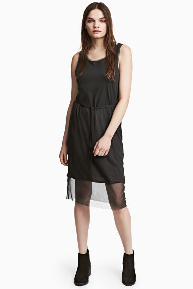Abito con bordi in mesh - Nero -  | H&M IT 1