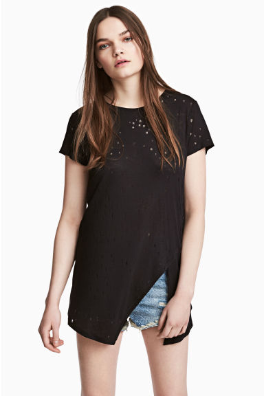 T-shirt effetto consumato - Nero - DONNA | H&M IT 1
