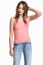 Long jersey strappy top - Coral pink - Ladies | H&M 2