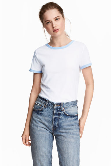 Short T-shirt - White - Ladies | H&M 1