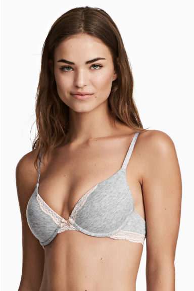 Push-up in misto cotone, 2 pz - Grigio mélange - DONNA | H&M IT 1