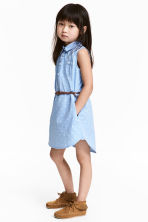 Sleeveless shirt dress - Light blue/Hearts - Kids | H&M CN 1
