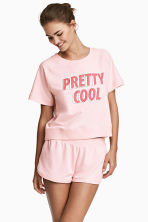 Lounge set with top and shorts - Light pink - Ladies | H&M 1