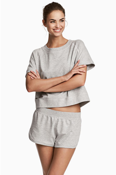 Lounge set with top and shorts - Grey marl - Ladies | H&M CN 1