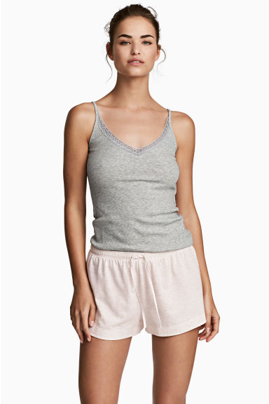 2-pack pyjama shorts - Grey/Pink striped - Ladies | H&M