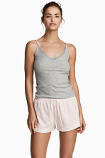 2-pack pyjama shorts - Grey/Pink striped - Ladies | H&M 1