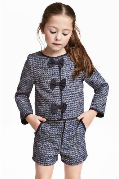 Textured-weave jacket - Dark blue - Kids | H&M 1