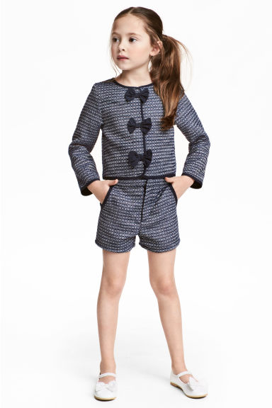 Textured-weave shorts - Dark blue - Kids | H&M 1