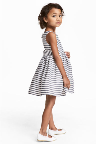 Striped dress - White/Dark blue/Striped - Kids | H&M CN