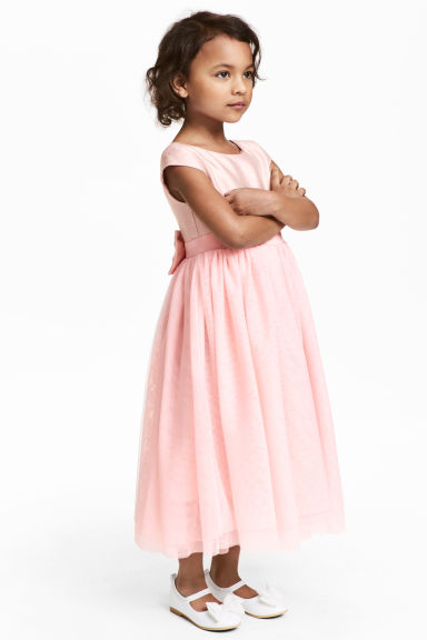 Tulle dress with a bow - Light pink - Kids | H&M 1