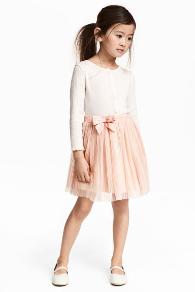 Pleated tulle skirt - Powder pink - Kids | H&M