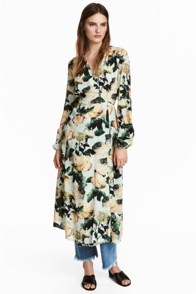 Satin wrap dress - Mint green/Floral -  | H&M IE 1
