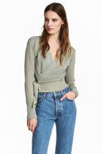 Knitted wrapover jumper - Mint green/Glittery - Ladies | H&M 1