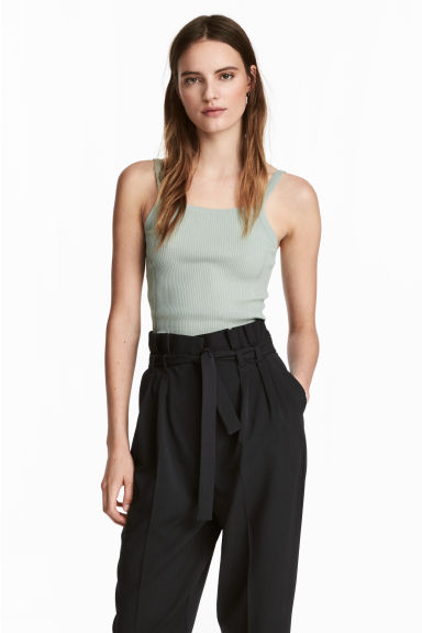 Fine-knit strappy top - Dusky green - Ladies | H&M 1