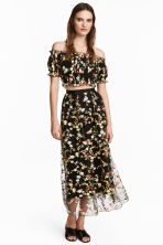 Embroidered mesh skirt - Black/Floral - Ladies | H&M CN 1