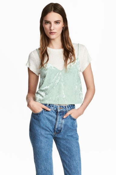 Crushed velvet strappy top - Mint green - Ladies | H&M 1