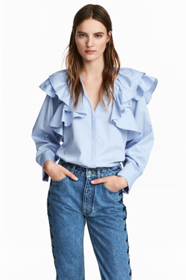 Ruffled blouse - Light blue - Ladies | H&M CN 1