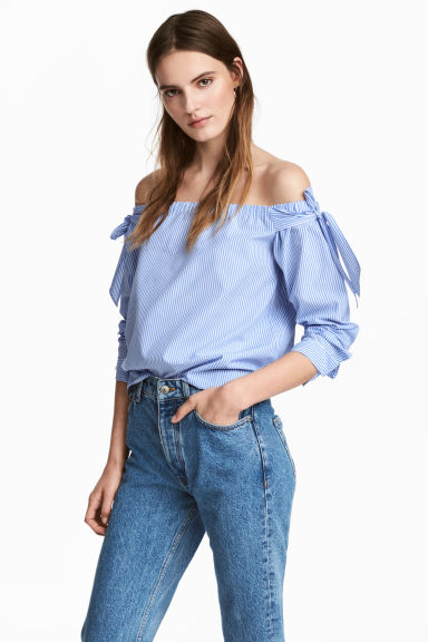 Off-Shoulder-Bluse - Blau/Gestreift -  | H&M CH 1