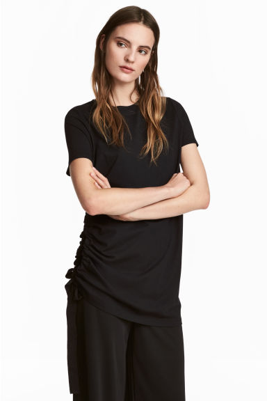 T-shirt with a drawstring - Black -  | H&M GB