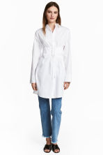 Long cotton shirt - White -  | H&M CN 1