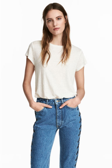 Short-sleeved top - Natural white - Ladies | H&M 1