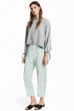 Crushed velvet trousers - Mint green -  | H&M 1