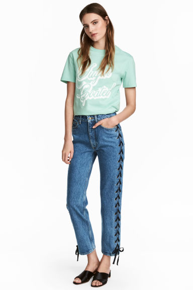 Straight Lace-up Ankle Jeans - Denim blue - Ladies | H&M