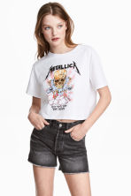 Short T-shirt - White/Metallica - Ladies | H&M GB 1