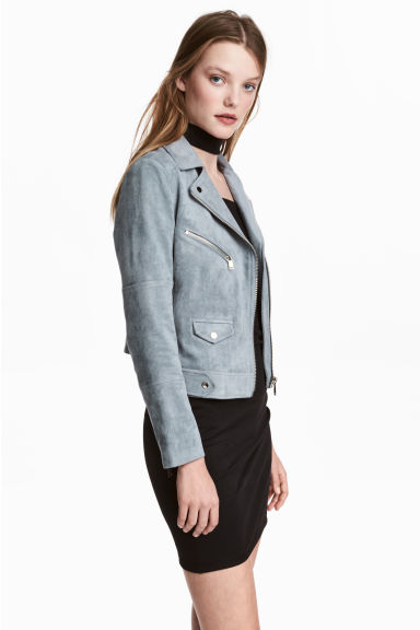 Imitation suede biker jacket - Grey-blue - Ladies | H&M 1
