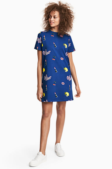 T-shirt dress - Dark blue/Patterned - Ladies | H&M CN 1